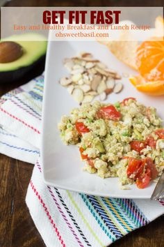 avocado eggs, almonds and a little citrus fruit to get healthy protein to keep you full and help you get fit ohsweetbasil.com