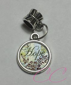 "Handmade Custom Photo Faith Hope & Love themed ""Hope"" European Charm FLH-009 - Charms & Charm Bracelets"