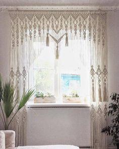 Macrame Curtain, Boho Curtains, Curtains Living, Kitchen Curtains, Curtains With Blinds, Cortina Boho, Rideaux Boho, Custom Made Curtains, Rural House