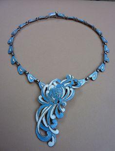 Stunning Vintage Margot de Taxco Sterling Silver White & Light Blue Enamel Necklace