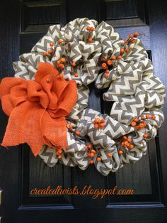 Burlap Chevron Wreath with Red Burlap Roses by CreatedTwists