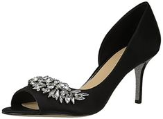 Badgley Mischka Jewel Womens Melvina Pump Black Satin 6 M US -- Read more reviews of the product by visiting the link on the image. (This is an affiliate link)