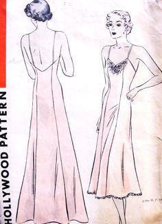 1930s Slinky PRINCESSE Bias Cut Evening or Day Slip Pattern HOLLYWOOD 1325 High or Low Back, Slip Dress Gown Bust 34 Vintage Sewing Pattern