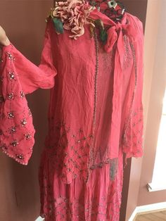 "Vtg Pink Silk Chiffon Beaded Flapper Dress and Jacket 36"" Waist VC22"