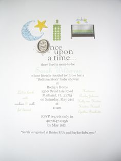 Invitations for a book themed baby shower