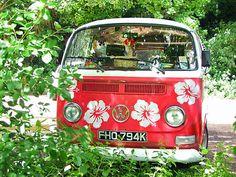 ♠ flowers vw camper van bus kombi