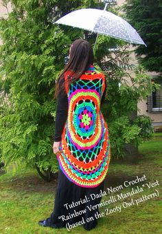Dada Neon Crochet: How to create your own Rainbow Vermicelli Mandala Vest!