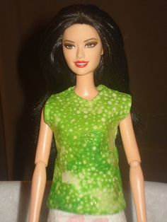 Barbie Doll Separates - Lime green and gold sparkles sleeveless blouse - es210