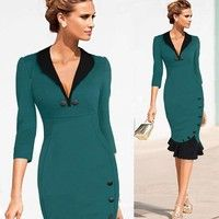 Wish | 2014 Women Vintage Pinup Elegant Patchwork Cotton Tunic Prom Work Business Party Cocktail Mermaid Dress Bodycon Midi Dress Plus Size S-XXL