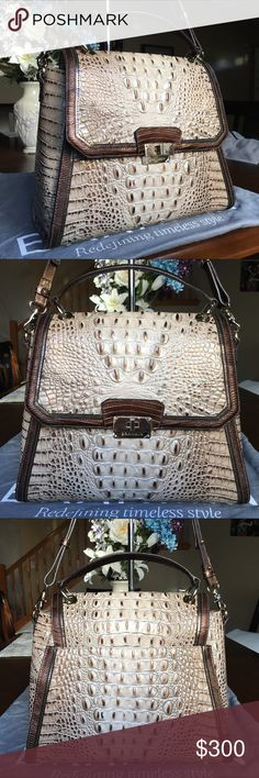 """Brahmin Barley Bronte Tri Texture Brinley Satchel New without tag. Never carried. Comes with long strap, dust cover. No registration card. Product Dimensions: 12.25"""" W x 9.5"""" H x 5.25"""" D Brahmin Bags Satchels"""
