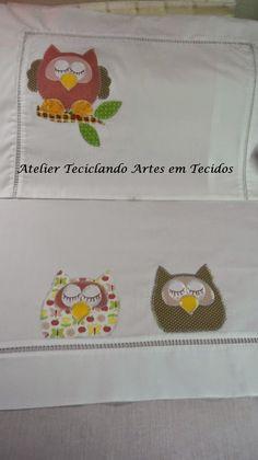 Teciclando Artes em Tecidos: Jogo Virol Corujinha - Linha baby