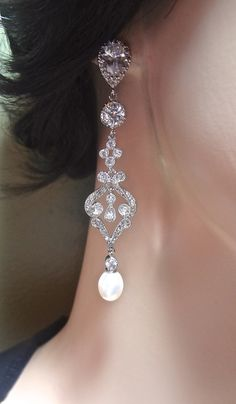 Bridal jewelry Pearl earrings Freshwater by QueenMeJewelryLLC, $62.99