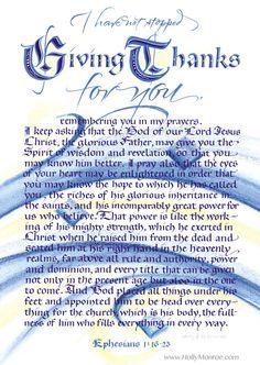 Giving Thanks for You Ephesians 1 Holly Monroe calligraphy print