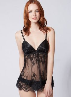 Tamsin Lace Babydoll And Briefs - Black | Boux Avenue