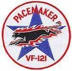 """VF-121 was the first Navy squadron to received the F-4 Phantom II all-weather fighter. Its primary mission was flight crew training; while it had been instructing combat-ready replacement pilots in the F3H Demon and the F-111 Tiger, the new Phantom soon demanded the squadron's full attention. pacemakers logo  Logo of VF-121, the """"Pacemakers."""" USNI Archives."""