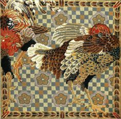Needlepoint roosters