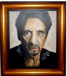 Al Pacino, aerosol, acrylic and emulsion in art deco guilt frame