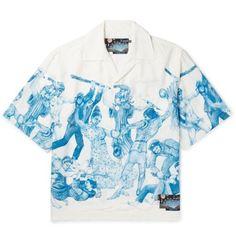 Prada Important Ones Camp-collar Printed Satin Shirt Renaissance Shirt, Disney Renaissance, Air Jordan, Casual Shirts For Men, Men Casual, Reebok, Mens Printed Shirts, Nba, Satin Shirt