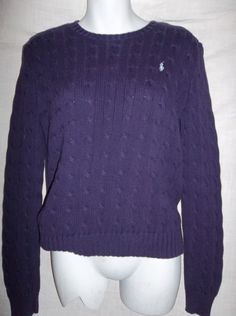 Ralph Lauren Purple Women's Crew Neck Sweater Blue Label Size Medium $17.00