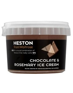 Heston from Waitrose Chocolate & Rosemary Ice Cream - flavours sound terrible. Already eaten of the tub in one sitting. Chocolate Week, Chocolate Treats, Best Chocolate, Ice Cream Images, Christmas Ice Cream, British Party, Delicious Desserts, Dessert Recipes, Ice Cream Packaging