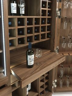For Sale on - Cabinet wine storage in solid walnut wood. Central storage unit with two Drawers and two pull-out Shelves. Dining Room Dresser, Natural Living, Wine Furniture, Drinks Cabinet, Bottle Rack, Wooden Kitchen, Wooden Bar, Wine Cabinets, Shabby Chic Kitchen