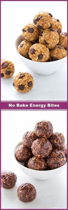 No-Bake Energy Bites both original and chocolate recipes! These are one of my go to snacks! Whole family LOVES them! Looks incredible! >>>make with #silverpalate #oats today and for your next party!