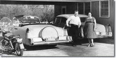 Vernon and Gladys Presley outside their home at 1034 Audubon ,Drive Memphis ,Tennessee ,,Elvis put $500 down on purchase of home March 3, 1956