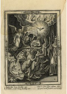Death of a Just Man    Centre, the dying man lies on a bed; above, the Holy Spirit, Christ, God the Father and Mary appear; to left, two angels guard the man; in the foreground, demons cavort and the souls of the damned burn in the mouth of a monster; to the right, holy figures look on... Engraving made by Carel van Mallery, After Jan van der Straet, Published by Philips Galle, Flemish school, 1596