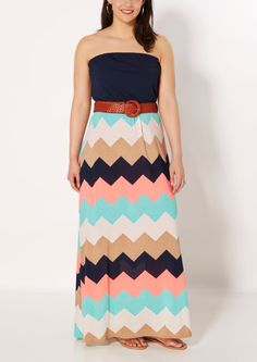 Plus Multi Chevron Tube Maxi Dress