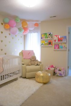 Harley's modern nursery is fun and girly. I saw a picture of a wedding board with white, gold, mint and pink and thought it would make for a pretty nursery.