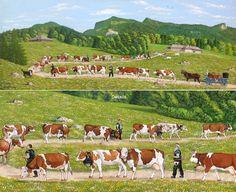 Poya sur bois, peinture de poya suisse de Willy Läng Naive, Swiss Switzerland, Farm Pictures, Cow Art, Alsace, Pathways, Painting & Drawing, Dolores Park, Folk