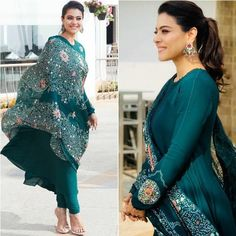 Rama green georgette gown with printed dupatta - Kajol Green Gown (Full Stitched)Top Fabric:- Georgette GM)Top Colour:- Rama GreenTop Inner:- CrapeTop Work:- Digital PrintTop Size:- Up To Length:- Sleeve Length:- green georgette Indian Designer Outfits, Indian Outfits, Designer Dresses, Designer Anarkali, Indowestern Gowns, Gown Party Wear, Summer Gowns, Kurta Designs Women, Salwar Designs