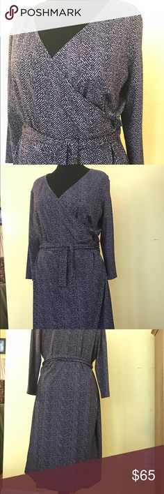 Talbots Woman faux wrap knit dress Talbots Woman faux wrap knit dress; NWOT; lavender and grey herringbone pattern; removable tie belt; 93% rayon, 7% spandex; machine washable; never worn; last picture best captures the color.  Smoke-free home. Talbots Dresses Long Sleeve