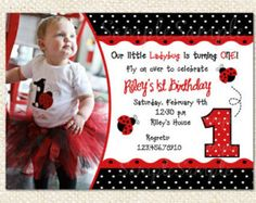 Ladybug birthday invitation printable or printed ladybug 1st ladybug birthday invitation filmwisefo Choice Image