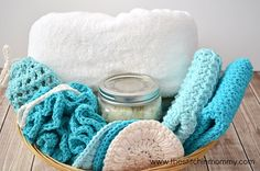 """We all need to indulge ourselves at times. Make this lovely crocheted spa set and indulge yourself with some """"me-time"""". Or give it away as a special gift."""