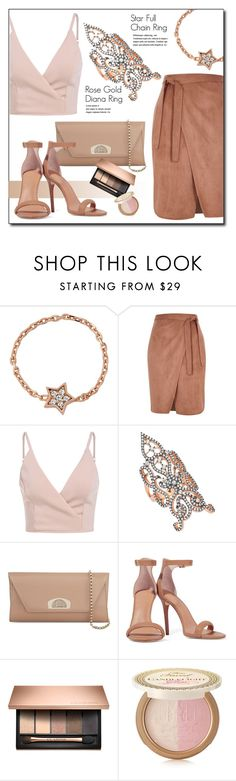 """""""Rose Gold"""" by amorium ❤ liked on Polyvore featuring Amorium, River Island, Christian Louboutin, Halston Heritage, Too Faced Cosmetics and amorium"""