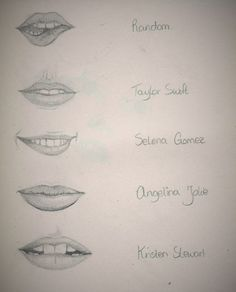 Lips of famous persons: Taylor Swift, Selena Gomez, Angelina Jolie and Kristen Stewart ~ Made by Celyn