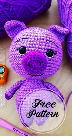 amigurumi for beginners; Crochet Mignon, Crochet Pig, Crochet Amigurumi Free Patterns, Crochet Animal Patterns, Stuffed Animal Patterns, Cute Crochet, Crochet Dolls, Easter Crochet, Crochet Animals