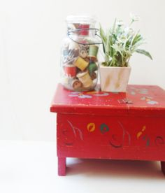 Sale!! Vintage Shoe Shine Box, Childs Size, Imaginary Play, Cherry Red, Painted…