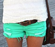 Tattered Green Beach Denim Shorts - this summer carry on with the colored jeans trend, only shorter! ♥