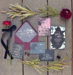 2015 Wedding Inspiration   pantone color of the year: marsala   wedding stationary   deep wine colored wedding inspiration