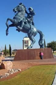 Statue of a Spanish Conquistador at entrance to the airport