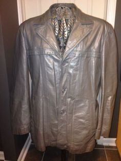 Designer Leather Jacket Sz L Gray Colored Super Supple Sexy
