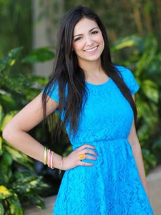 Such a cute dress pretty blue. Everyone check out her YouTube channel at Bethany Mota make sure to subscribe and like her channel