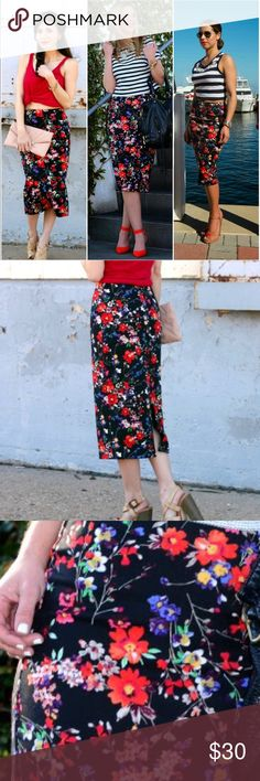 Express floral high waisted pencil skirt Such a beautiful rare skirt. Sold out everywhere. It has beautiful multicolored flowers that standout against the black background. Super classy. It's a midi pencil skirt, really cute high waisted. I'm usually a 6 and it fits me but still a bit comfortably roomy. It's a nice stretchy material too! 93% polyester, 7% spandex 🌹🌸🌻 Ask me any questions. (This skirt is from Express) Don't be afraid to place an offer☺✌️(models: Adriana Contreras, Shanna…