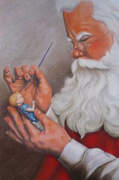 """""""In His Workshop"""" Santa Claus by Mary Clare.  This is her doll used as a model for the toy Santa is working on."""