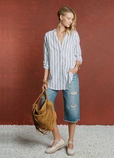 CAMISA LONGA MG 3/4 LISTRA LINHO - Blusas e t-shirts - Verão na Toscana - Cantão