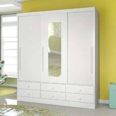 Guarda-roupa 3 Portas de Correr 3.6 Teen L.O.L Com Espelho Branco - Santos Andirá | Lojas KD