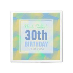 Shop Blue Abstract Cubist Birthday Paper Napkins created by ReneBui. Party Napkins, Ecru Color, Blue Abstract, 30th Birthday, Presentation, Pastel, Shapes, Prints, 30 Year Anniversary