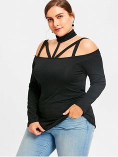 Plus Size Cut Out Long Sleeve T-shirt - BLACK 4XL